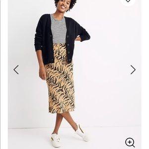 Madewell Silk Midi Slip Skirt Tiger Stripe Print